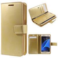 DiaryCase PU kožené puzdro s priehradkami na Samsung Galaxy S7 - zlaté