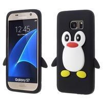 Tučniak 3D silikónový obal na Samsung Galaxy S7 - čierny