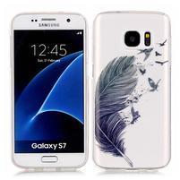 Shelly transparentný gélový obal na Samsung Galaxy S7 - pírko