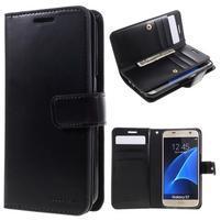 DiaryCase PU kožené puzdro s priehradkami na Samsung Galaxy S7 - čierne