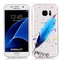 Shelly transparentný gélový obal na Samsung Galaxy S7 - modré pierko