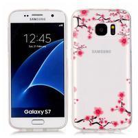 Shelly transparentný gélový obal na Samsung Galaxy S7 - kvety slivky