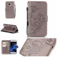 Motýlie PU kožené puzdro na Samsung Galaxy S7 - sivé