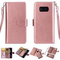 Rozkládacie 2v1 PU kožené puzdro na Samsung Galaxy S8 - ružovozlaté