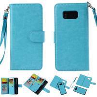 Rozkládacie 2v1 PU kožené puzdro na Samsung Galaxy S8 - modré