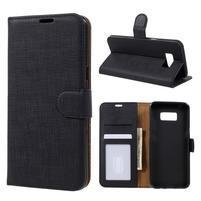 Clothy PU kožené puzdro pre mobil Samsung Galaxy S8 Plus - čierne