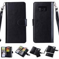 Rozkládacie 2v1 PU kožené puzdro na Samsung Galaxy S8 Plus - čierne