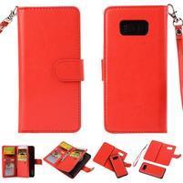 Rozkládacie 2v1 PU kožené puzdro na Samsung Galaxy S8 Plus - červené