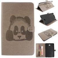 Panda polohovateľné PU kožené puzdro na Samsung Galaxy Tab A 10.1 (2016) - sivé