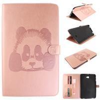 Panda polohovateľné PU kožené puzdro na Samsung Galaxy Tab A 10.1 (2016) - ružové