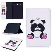 Elegant PU kožené polohovateľné puzdro na Samsung Galaxy Tab E 9.6 - panda
