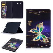 Elegant PU kožené polohovateľné puzdro na Samsung Galaxy Tab E 9.6 - čarovné motýle