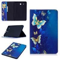 Elegant PU kožené polohovateľné puzdro na Samsung Galaxy Tab E 9.6 - motýlia mágia