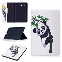 Elegant PU kožené polohovateľné puzdro na Samsung Galaxy Tab E 9.6 - panda na bambuse