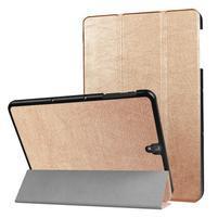 Trifold polohovatelné PU kožené puzdro pre Samsung Galaxy Tab S3 9.7 T820 - zlaté
