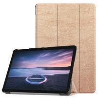 Trifold PU kožené polohovacie puzdro na Samsung Galaxy Tab S4 10.5 (SM-T830/T835) - zlaté