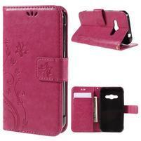 Butterfly PU kožené puzdro na mobil Samsung Galaxy Xcover 3 - rose