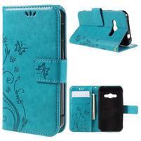 Butterfly PU kožené puzdro na mobil Samsung Galaxy Xcover 3 - modré