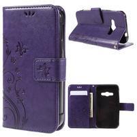 Butterfly PU kožené puzdro na mobil Samsung Galaxy Xcover 3 - fialové