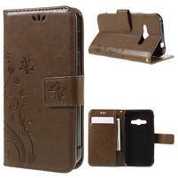 Butterfly PU kožené puzdro na mobil Samsung Galaxy Xcover 3 - hnedé