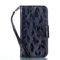 Motýlie PU kožené puzdro na Samsung Galaxy Xcover 4 - čierne