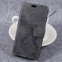 Vintage PU kožené puzdro na mobil Samsung Galaxy Xcover 4 - sivé