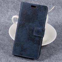 Vin tage PU kožené puzdro na mobil Samsung Galaxy Xcover 4 - tmavomodré