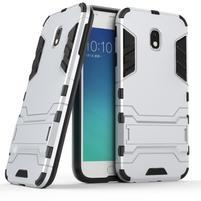 Defender odolný obal pre mobil Samsung Galaxy J3 (2017) - strieborný