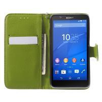 PU kožené lístkové puzdro pre Sony Xperia E4 - hnedé