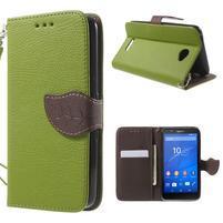 PU kožené lístkové puzdro pre Sony Xperia E4 - zelené