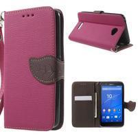 PU kožené lístkové puzdro pre Sony Xperia E4 - rose