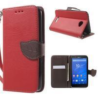 PU kožené lístkové puzdro pre Sony Xperia E4 - červené
