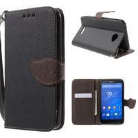 PU kožené lístkové puzdro pre Sony Xperia E4 - čierne