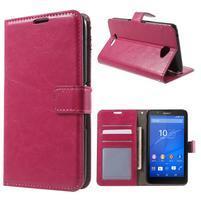 PU kožené pěněženkové pouzdro na mobil Sony Xperia E4 - rose