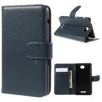 Peňaženkové PU kožené puzdro pre Sony Experia E4 - tmavomodré
