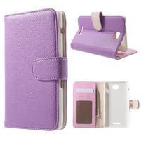 Koženkové puzdro pre Sony Xperia E4 - fialové