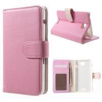 Koženkové puzdro pre Sony Xperia E4 - ružové