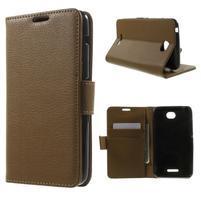 PU kožené Peňaženkové puzdro pre Sony Xperia E4 - hnedé