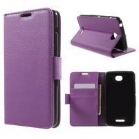 PU kožené Peňaženkové puzdro pre Sony Xperia E4 - fialové