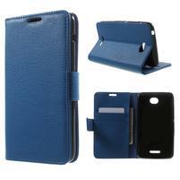 PU kožené Peňaženkové puzdro pre Sony Xperia E4 - modré
