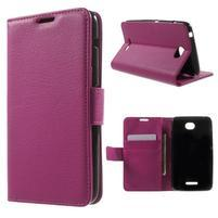 PU kožené Peňaženkové puzdro pre Sony Xperia E4 - rose