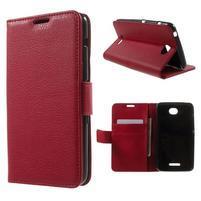 PU kožené Peňaženkové puzdro pre Sony Xperia E4 - červené