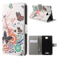 Peněženkové pouzdro na Sony Xperia E4 - barevní motýlci