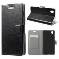 Horse PU kožené zapínacie puzdro na mobil Sony Xperia L1 - čierne