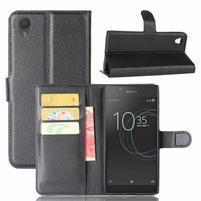 Gaines PU kožené puzdro pre Sony Xperia L1 - čierné