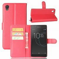 Gaines PU kožené puzdro pre Sony Xperia L1 - červené