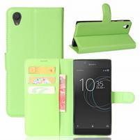 Gaines PU kožené puzdro pre Sony Xperia L1 - zelené