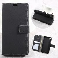 Wallet PU kožené puzdro pre mobil Sony Xperia L1 - čierné