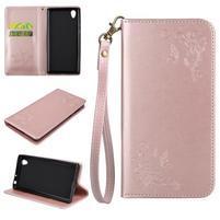 Motýlie PU kožené puzdro s pútkom na Sony Xperia L1 - ružové