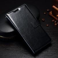 Grain PU kožené knižkové puzdro na Sony Xperia L1 - čierne